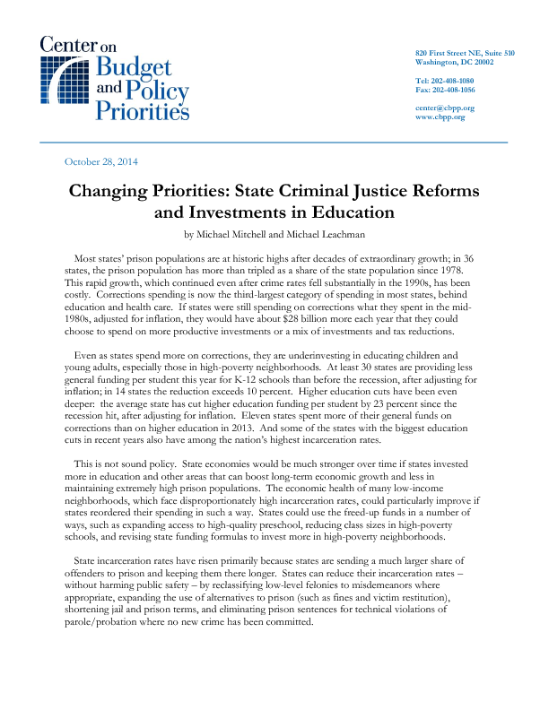 Changing Priorities State Criminal Justice Reforms And