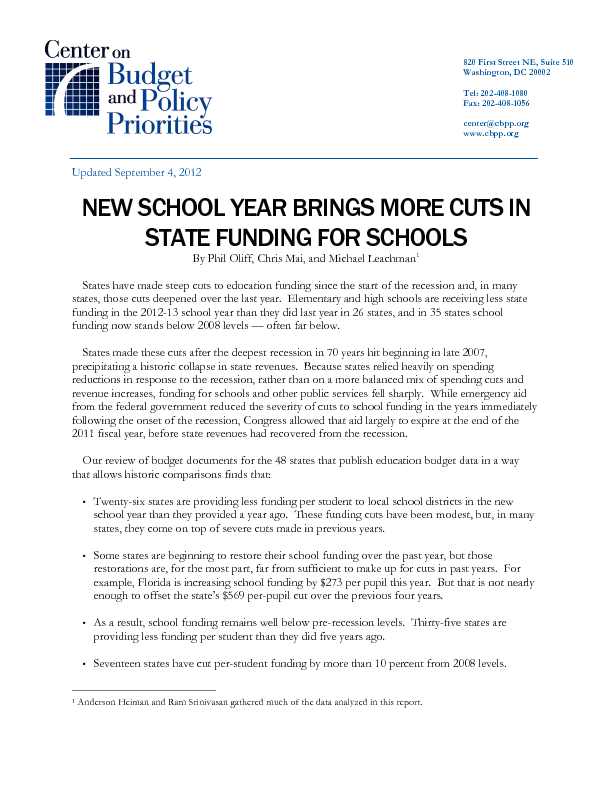 New School Year Brings More Cuts In State Funding For Schools
