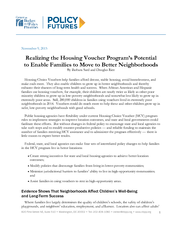 Realizing the Housing Voucher Program's Potential to