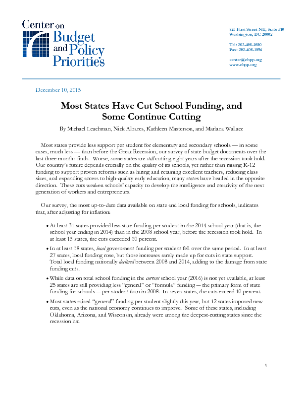 Most States Have Cut School Funding And Some Continue Cutting