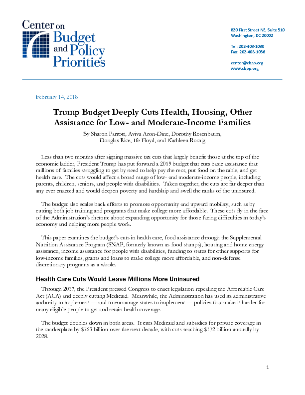 Trump Budget Deeply Cuts Health Housing Other Assistance For Low