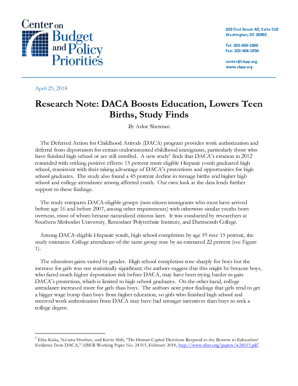 Research Note DACA Boosts Education Lowers Teen Births Study