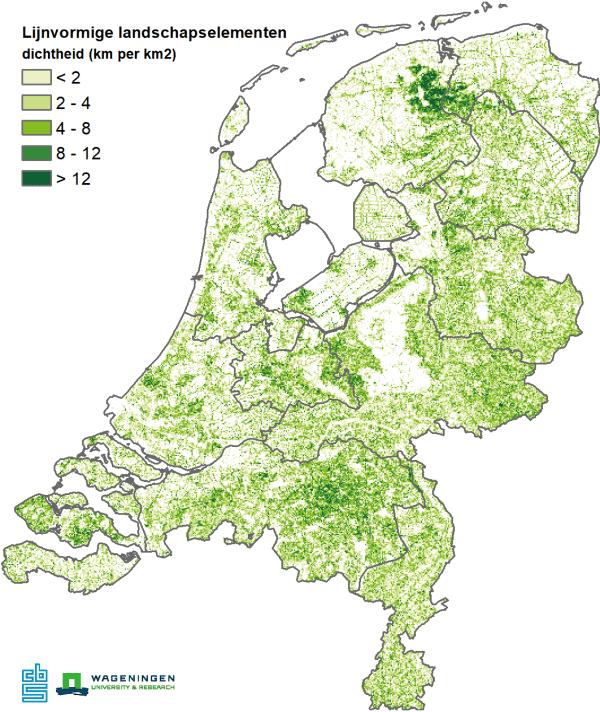 Lijnvormige landschapelementen: dichtheid (km per km2)