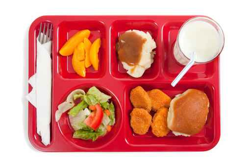 School lunch tray with food on it on a white backgrounf_412648