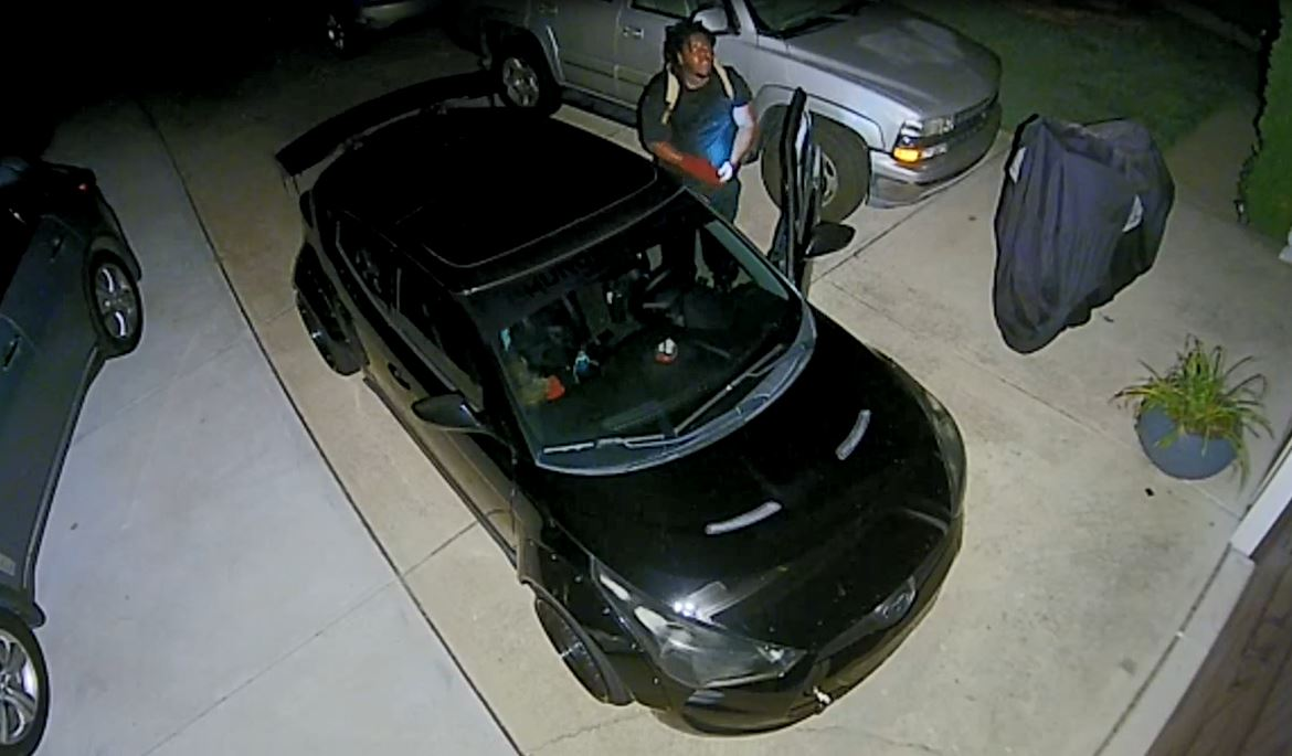 Surveillance footage captures man entering vehicle at Wake County