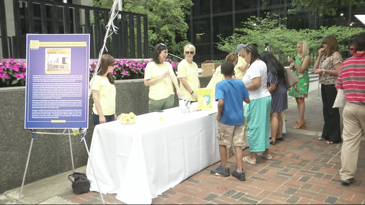 Selling lemonade for childhood cancer research