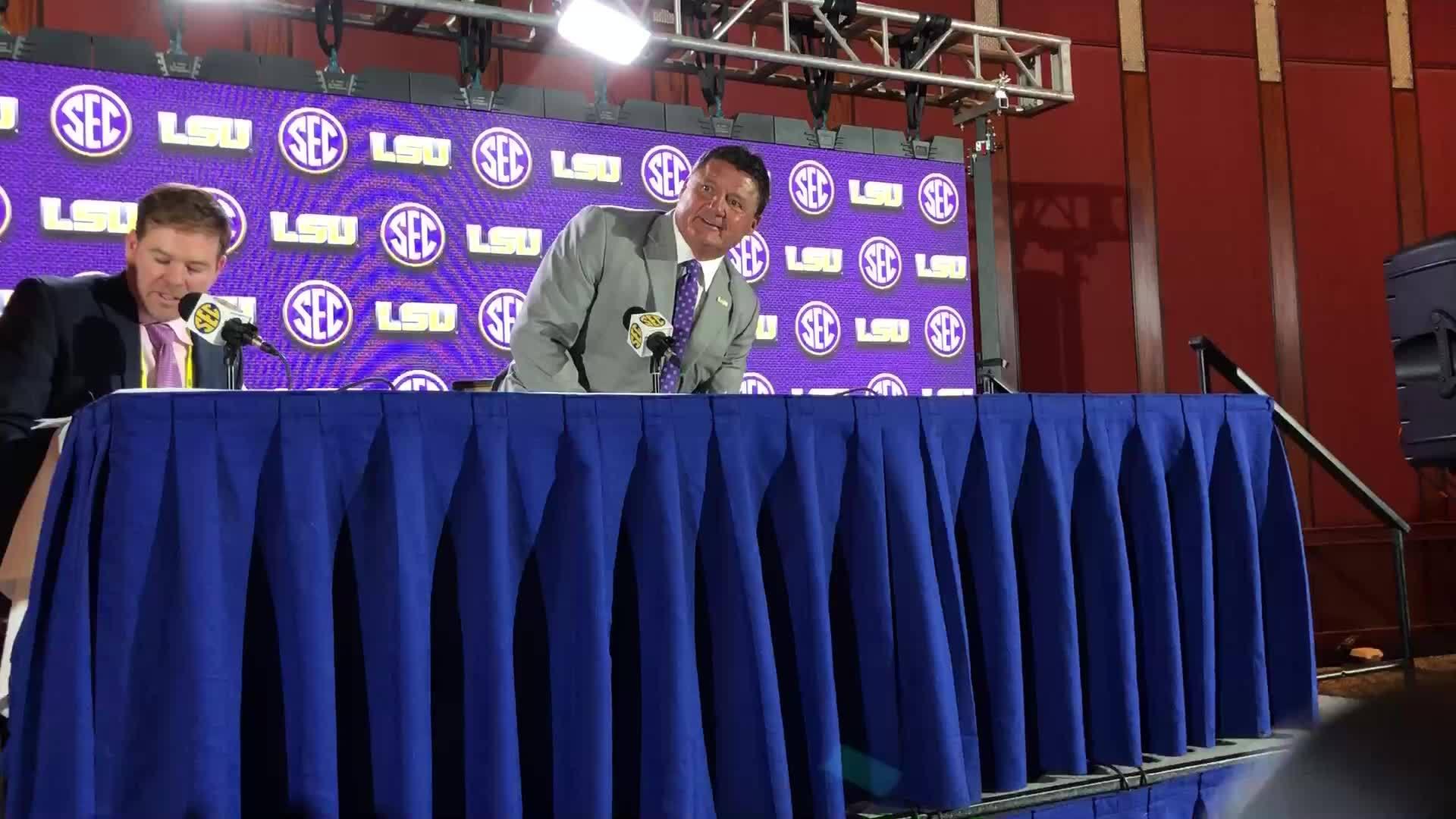 LSU football head coach Ed Orgeron at SEC Media Days 2018