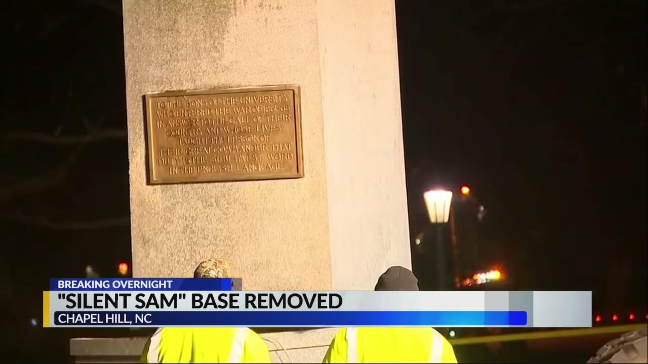 Silent Sam pedestal removed