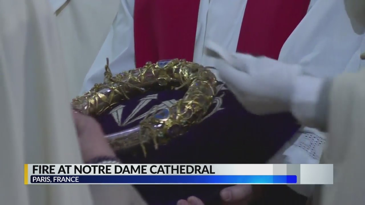 Relics of Notre Dame Cathedral, including crown of thorns, saved