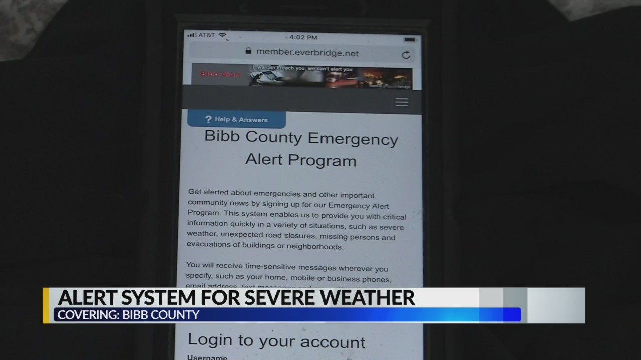 Alert system for severe weather in Bibb County