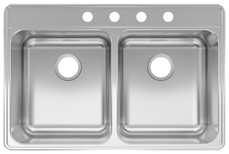 kindred double bowl 20 ga stainless steel top mount kitchen sink 4 hole 33 in x 22 in x 8 in
