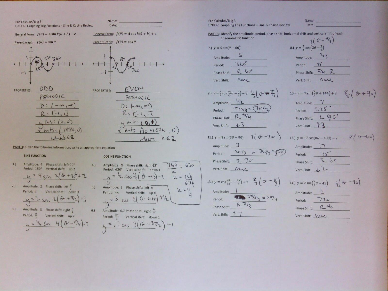 Worksheet Sine And Cosine Graphs Worksheet Grass Fedjp