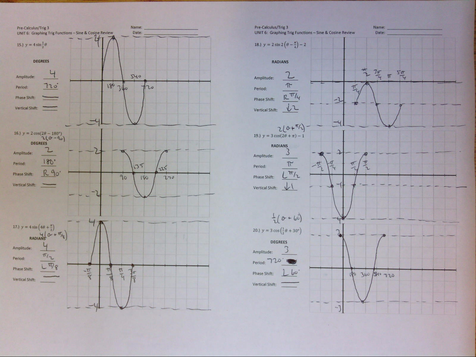 30 Graphing Trig Functions Practice Worksheet With Answers