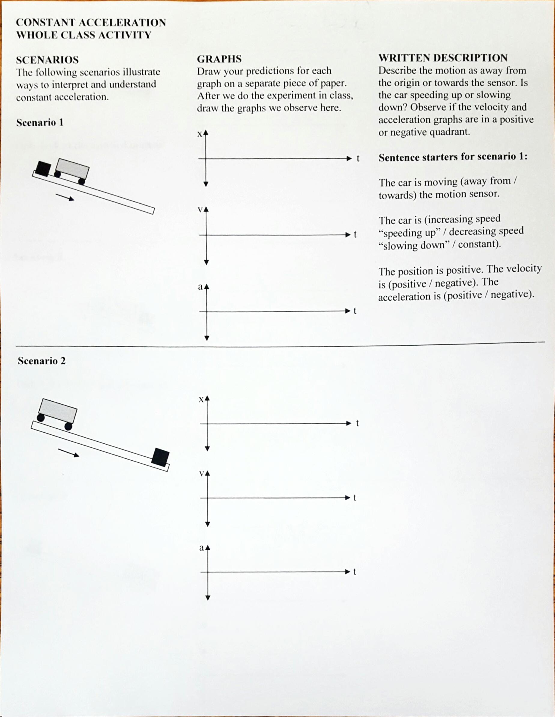 Motion Graphysis Worksheet Answer Key
