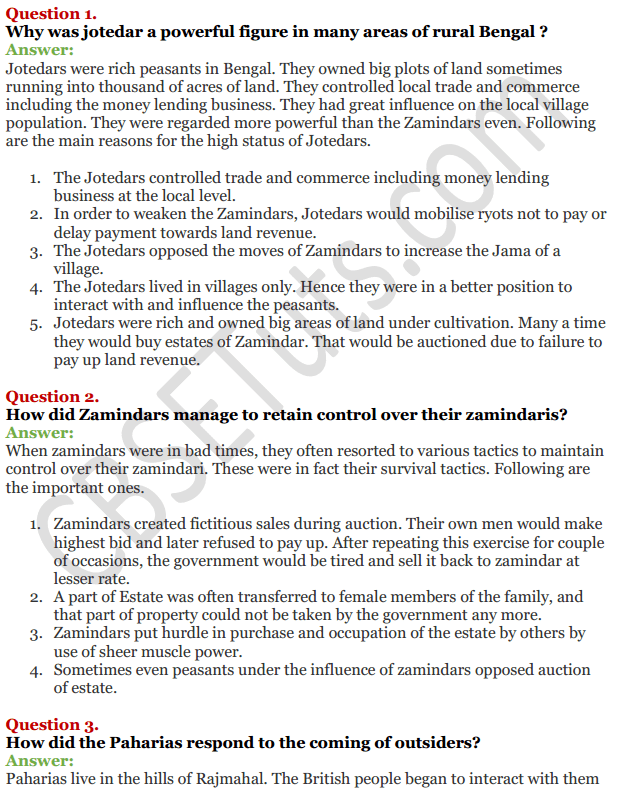NCERT Solutions For Class 12 History Chapter 10 Colonialism and the Countryside 1
