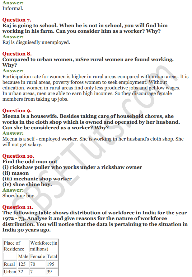 NCERT Solutions for Class 11 Chapter 7 Employment-Growth, Informalisation and Related Issues 2