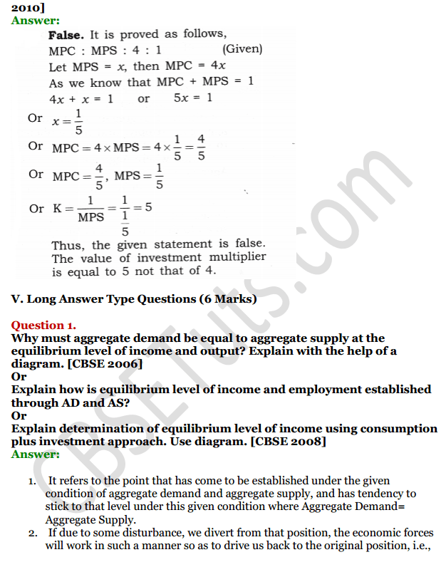 NCERT Solutions for Class 12 Macro Economics Chapter 6 National Income Determination and Multiplier 25
