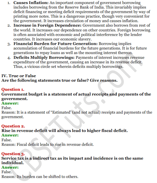 NCERT Solutions for Class 12 Macro Economics Chapter 8 Government Budget and the Economy 25