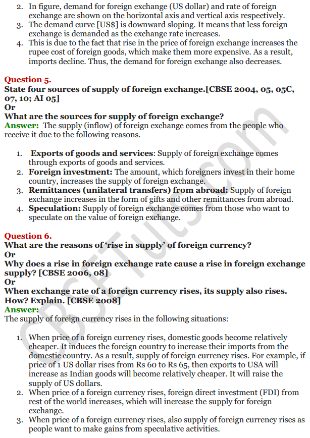 NCERT Solutions for Class 12 Macro Economics Chapter 9 Foreign Exchange Rate 14