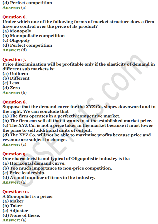 NCERT Solutions for Class 12 Micro Economics Chapter 11 Non-Competitive Market 8