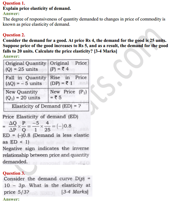 Ncert Solutions For Class 12 Micro Economics Chapter 4 Elasticity