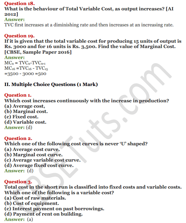 NCERT Solutions for Class 12 Micro Economics Chapter 6 Cost 12