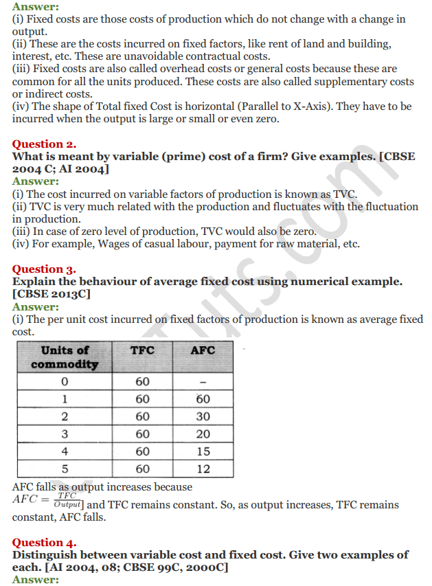 NCERT Solutions for Class 12 Micro Economics Chapter 6 Cost 20