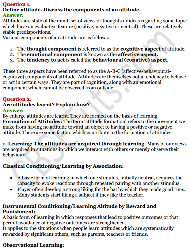 NCERT Solutions for Class 12 Psychology Chapter 6 Attitude