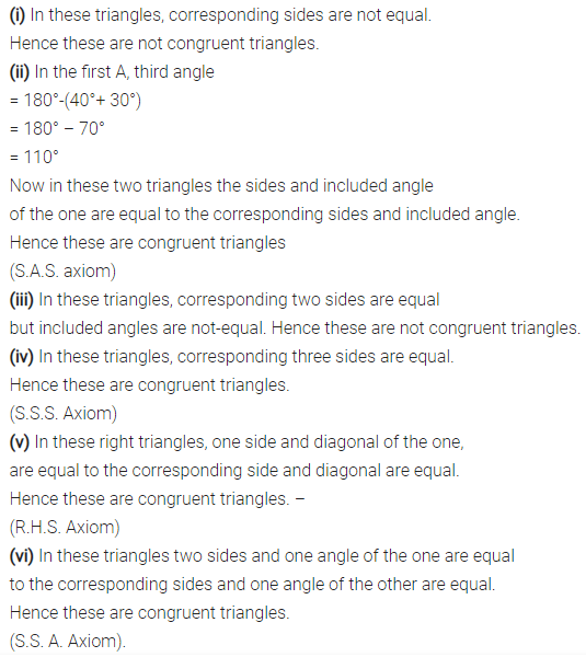 Selina Concise Mathematics Class 7 ICSE Solutions Chapter 19 Congruency Congruent Triangles 1