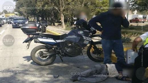 Motociclista atropella y deja lesionado a anciano