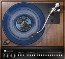 pink floyd and their blue record on a turntable