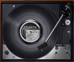 acdc, back in black on a turntable