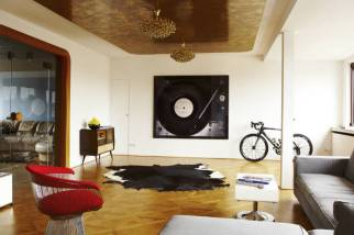 vinyl record and turntable photo hanging a wall