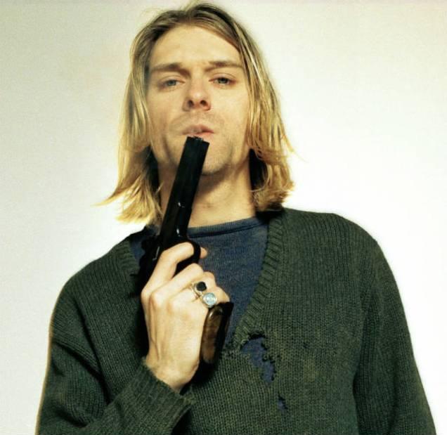kurt cobain holding a gun