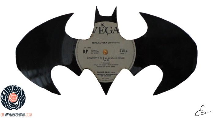 handmade vinyl record art by cb... - Batman signal