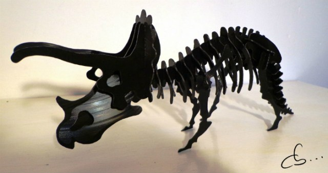 dinosaur, Triceratops sculpture made out of recycled vinyl records