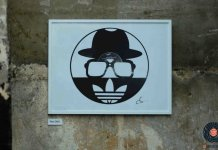 logo run dmc carved out from a vinyl record art