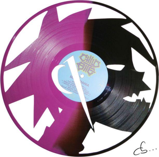 handmade craft art, 2d gorillaz carved from a vinyl record