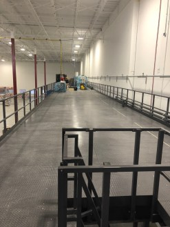 The finished mezzanine, complete with handrail as viewed from the mezzanine deck.