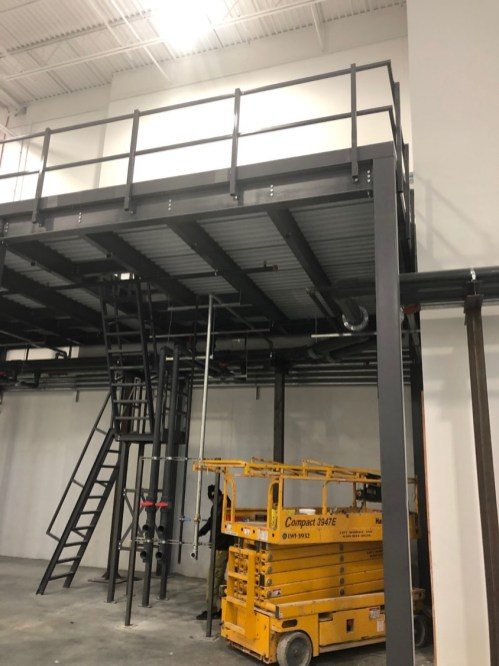Mezzanine floors are supported on B-type corrugated roof decking.