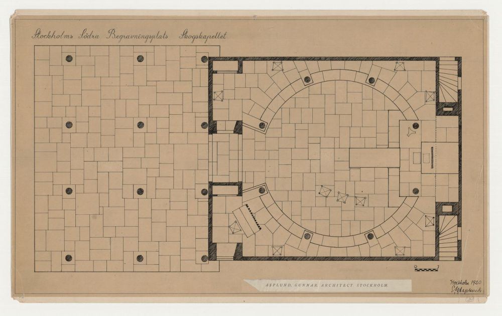 medium resolution of ground plan for woodland chapel showing furniture placement and tile flooring woodland cemetery stockholm