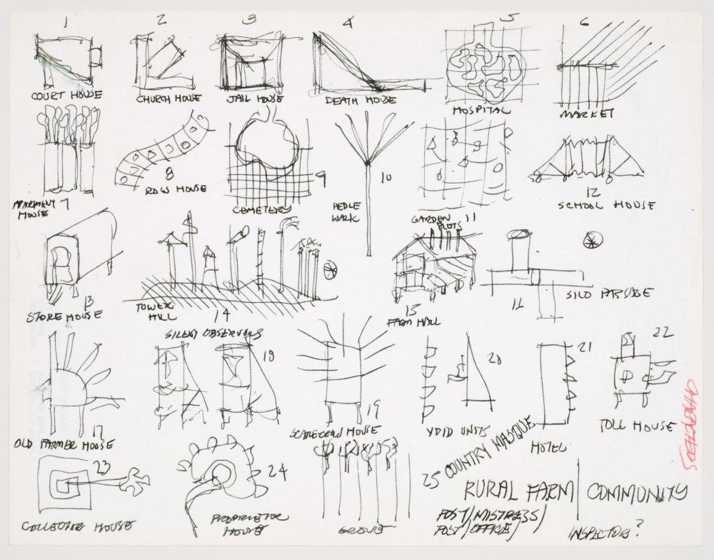 medium resolution of john hejduk sketches for characters lancaster hanover masque 1980 1982 cca dr1988 0291 015