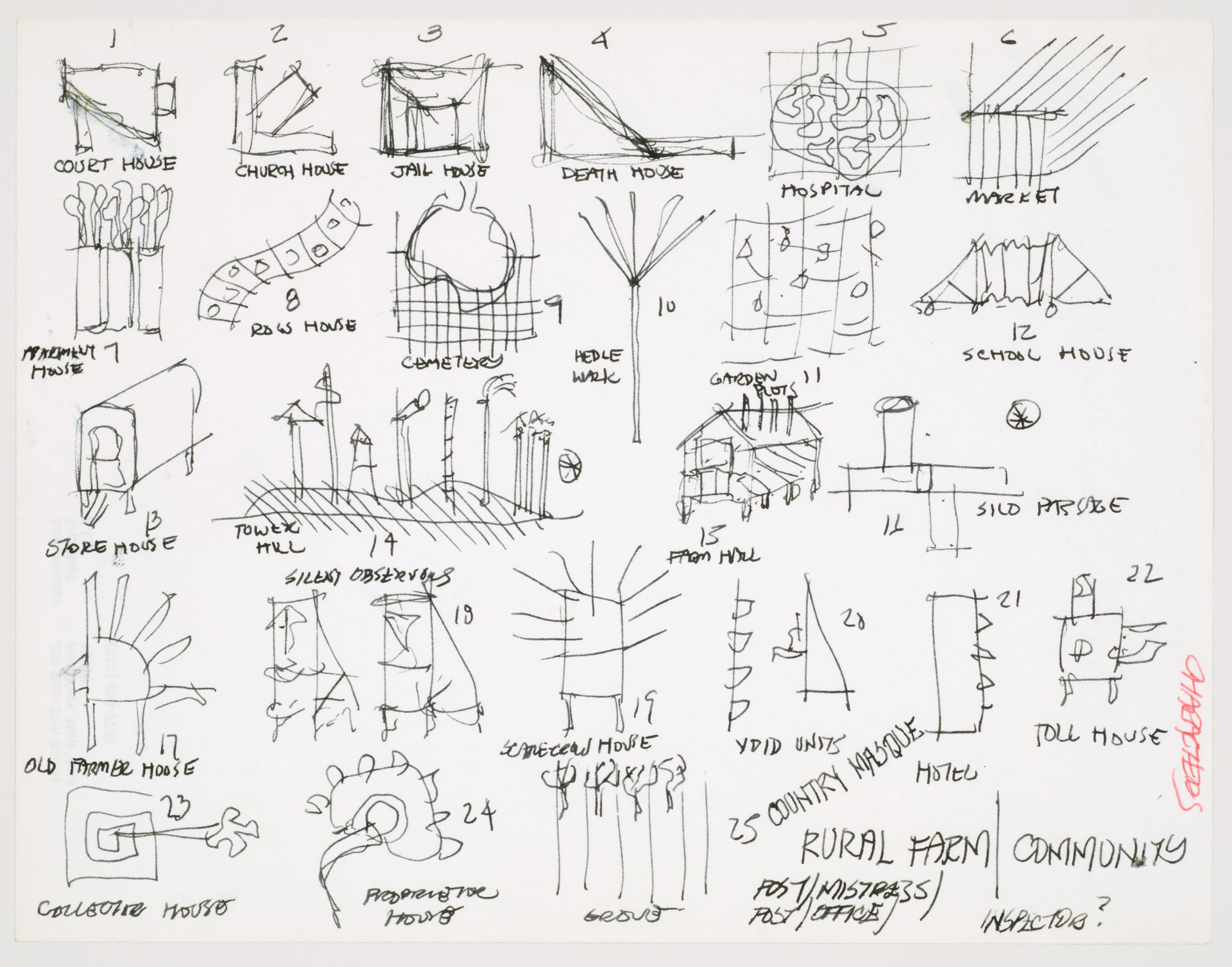 hight resolution of john hejduk sketches for characters lancaster hanover masque 1980 1982 cca dr1988 0291 015