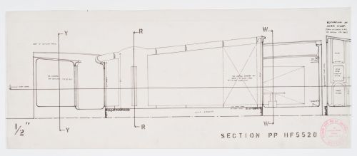 small resolution of section pp of bedroom and elevation of chair storage area between 1955 and 6 march 1956 dr1995 0029