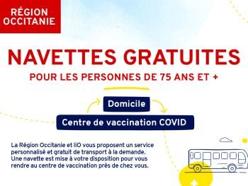 Bandeau navettes gratuites vers centres de vaccination Covid - Région Occitanie liO + TAD gratuit
