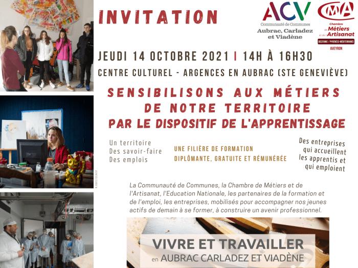 Visuel invitation rencontre autour de l'apprentissage 14 octobre 2021