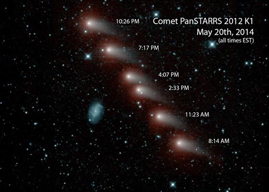 Serie di immagini della cometa C/2012 K1 (Pan-STARRS) riprese dalla missione NEOWISE della NASA in infrarosso. Crediti: NASA/JPL-Caltech