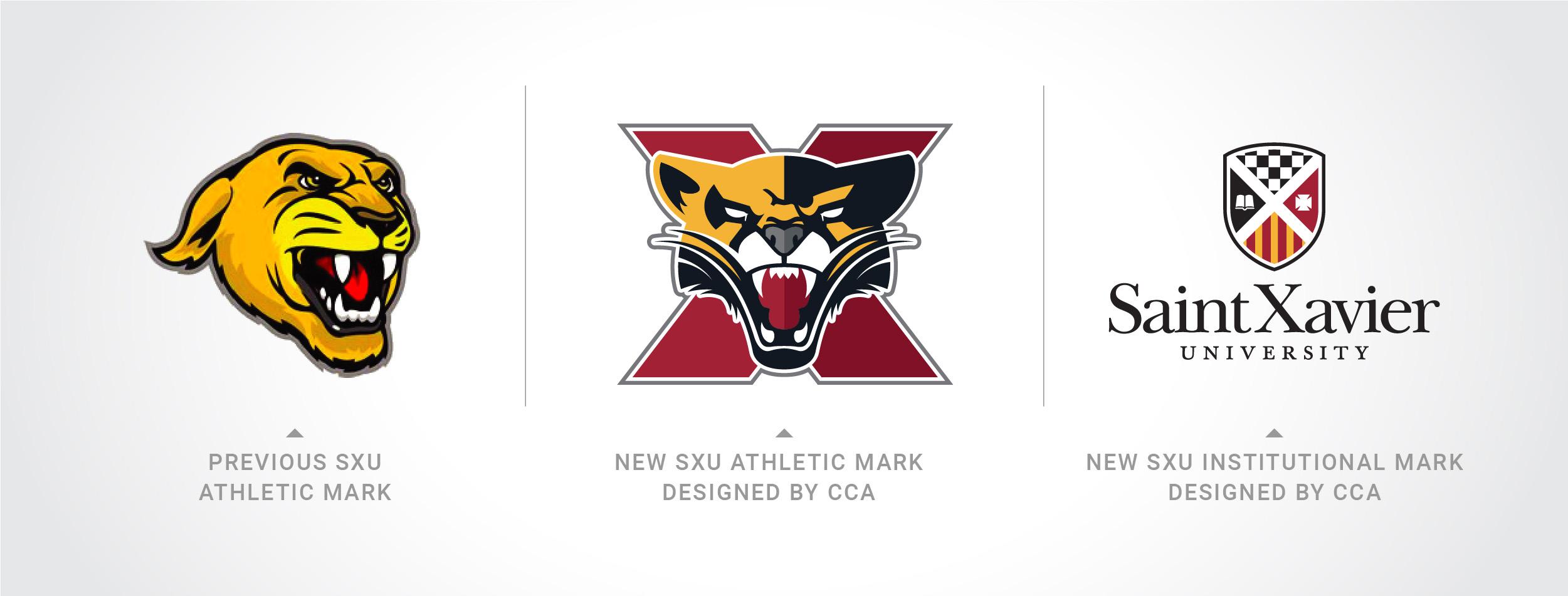 Saint Xavier University's new athletic logo vs old