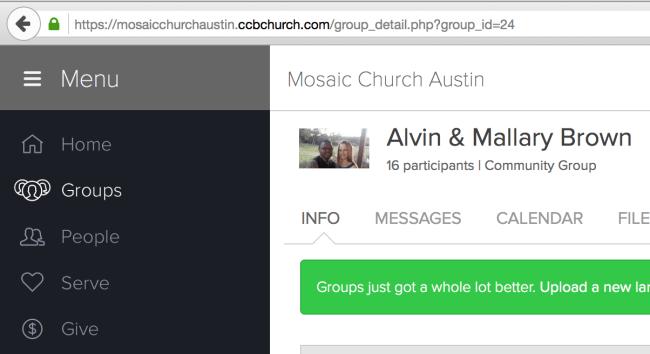 Church Community Builder (CCB) Group Search ID