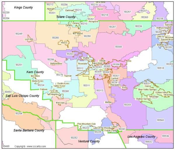 Bakersfield CA Zip Codes Kern County Zip Code Boundary Map